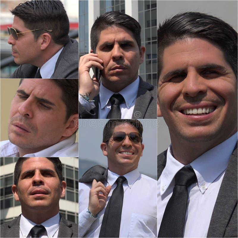 Colagem latino-americano do homem de negócio imagem de stock