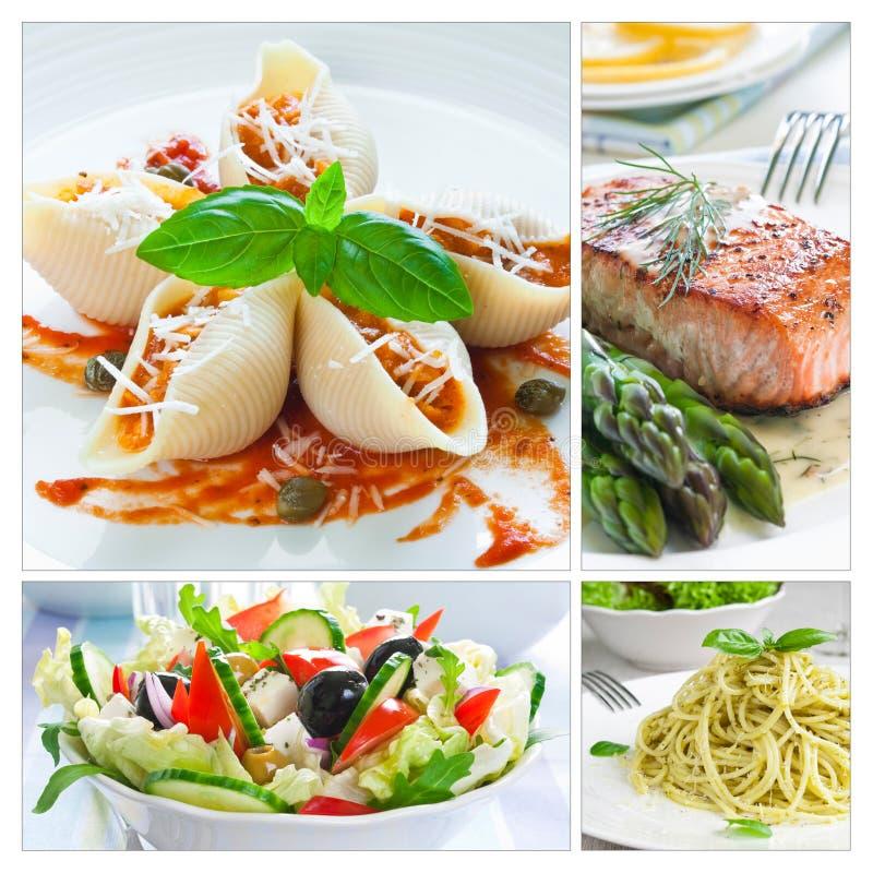 Colagem mediterrânea do alimento fotografia de stock