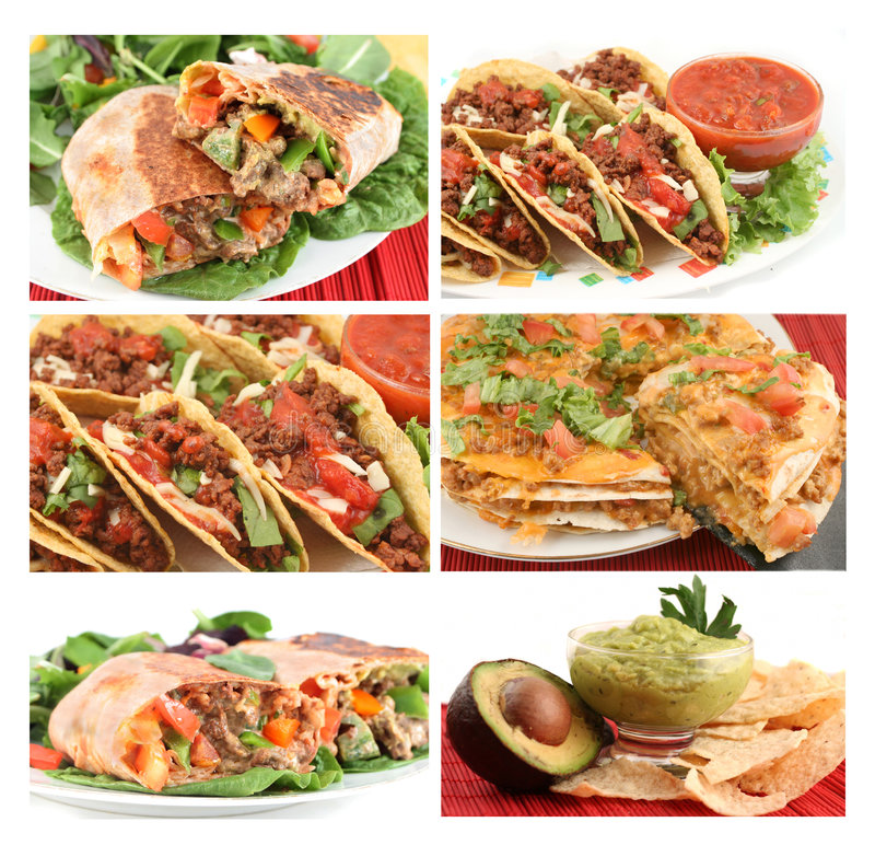 Colagem mexicana do alimento fotografia de stock
