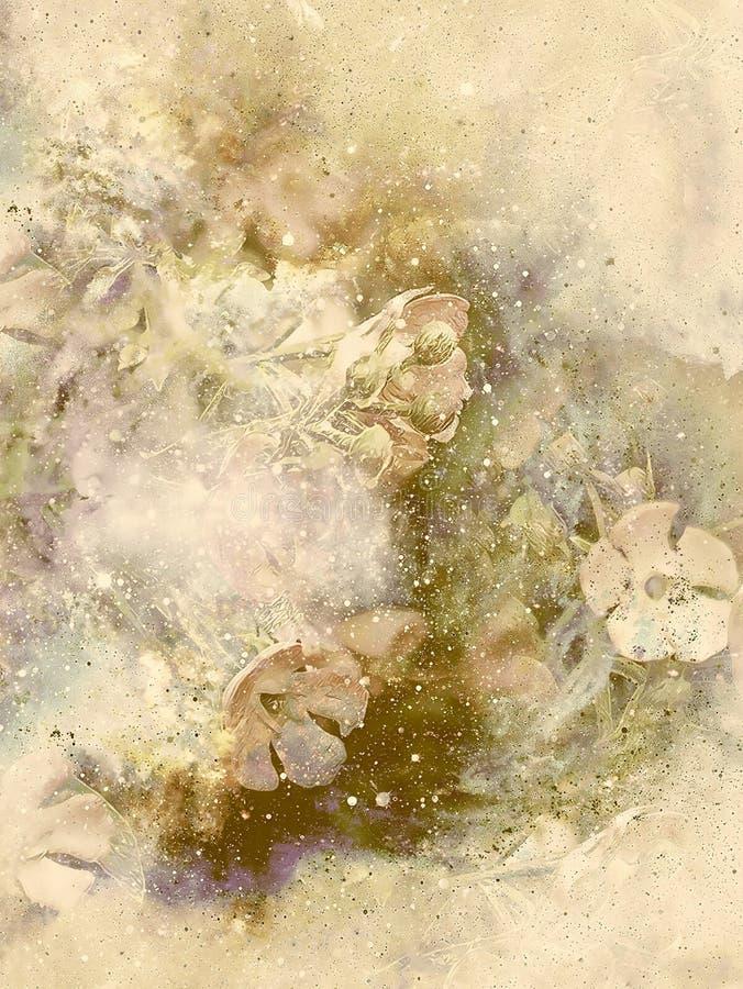 Colagem a motor da flor multicolorido abstrata no espaço Efeito velho ilustração stock