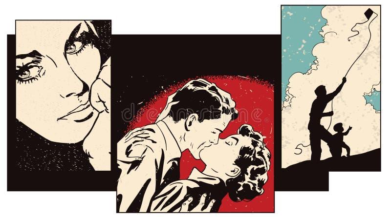 Colagem no tema dos valores familiares Ilustração conservada em estoque ilustração do vetor