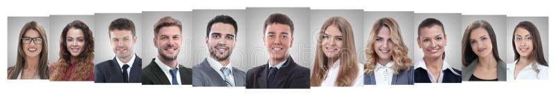 Colagem panorâmica de retratos de empresários de sucesso foto de stock