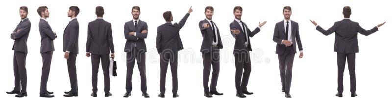 Colagem panorâmico de várias fotos de um homem de negócios novo imagem de stock