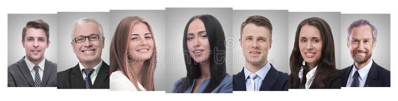 Colagem panorâmico dos retratos de empresários novos imagens de stock royalty free