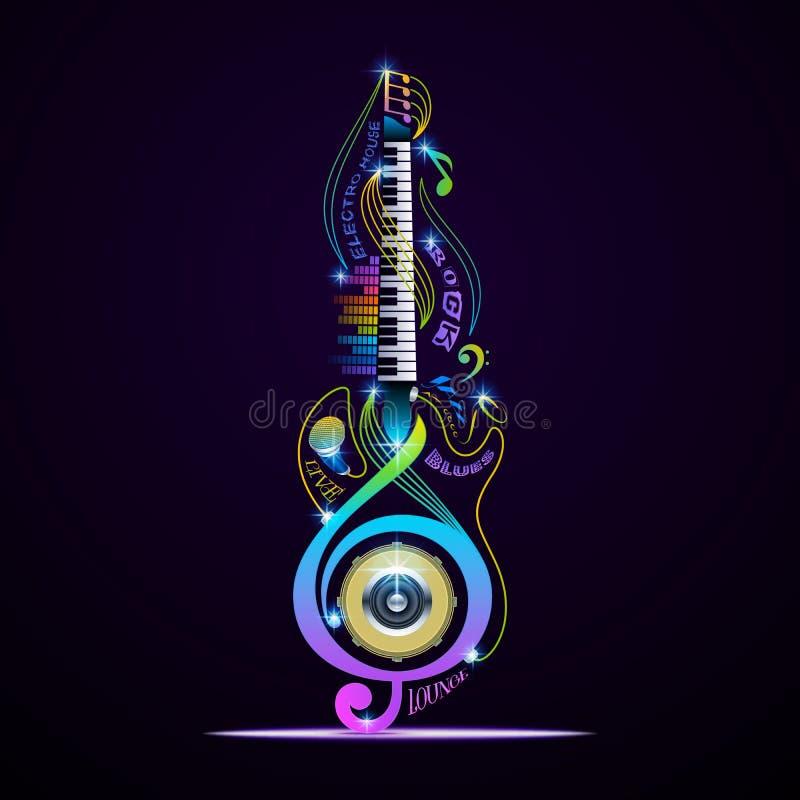 Colagem para a rocha, jazz dos instrumentos musicais, azuis, sala de estar, eletrônico, viva ilustração royalty free