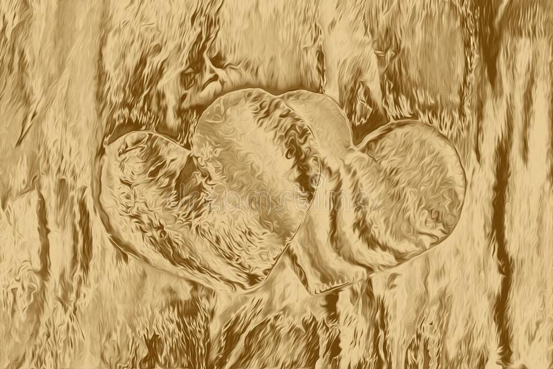 Colagem para a textura da arte finala do amor, decoração do coração do ouro ilustração royalty free