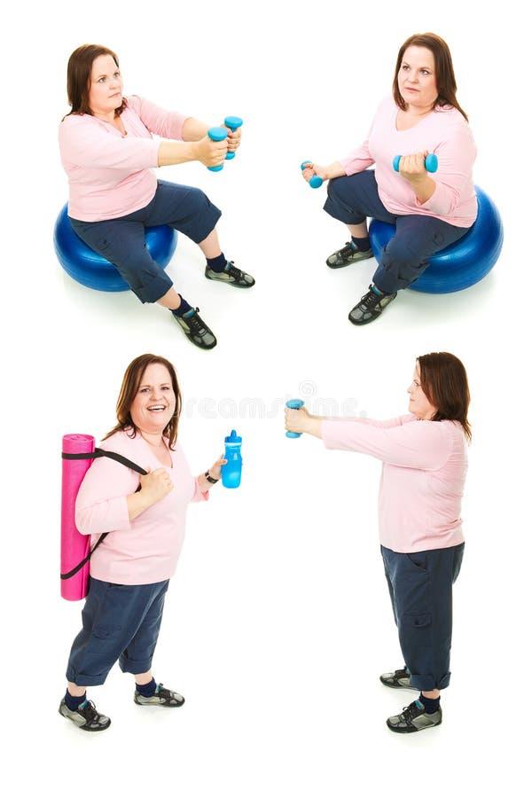 Colagem positiva do exercício da mulher do tamanho imagem de stock royalty free