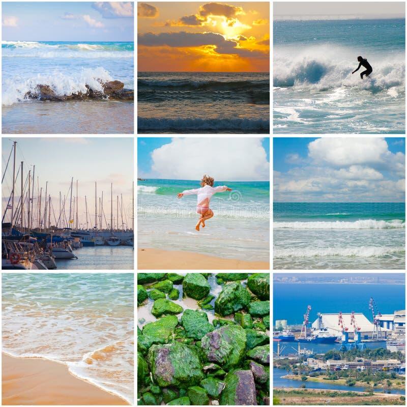 Colagem quadrada do mar Mediterrâneo foto de stock
