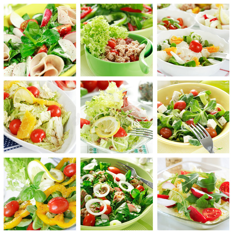 Colagem saudável das saladas imagens de stock