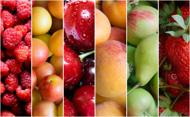 Colagem saudável do alimento do fruto imagem de stock