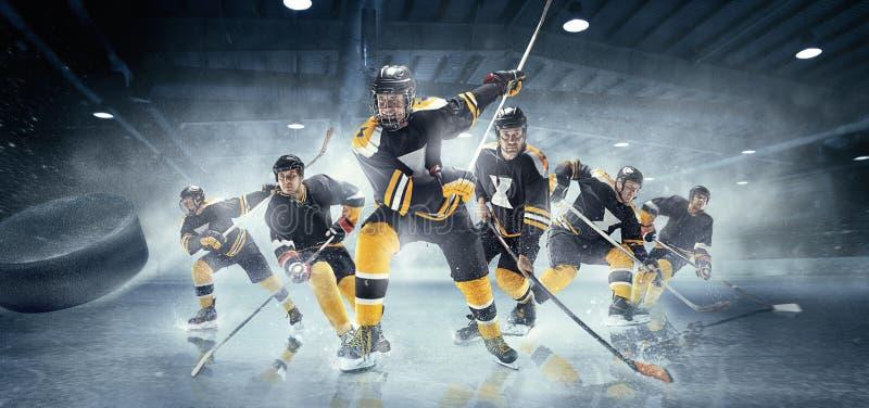 Colagem sobre jogadores de hóquei em gelo na ação fotos de stock