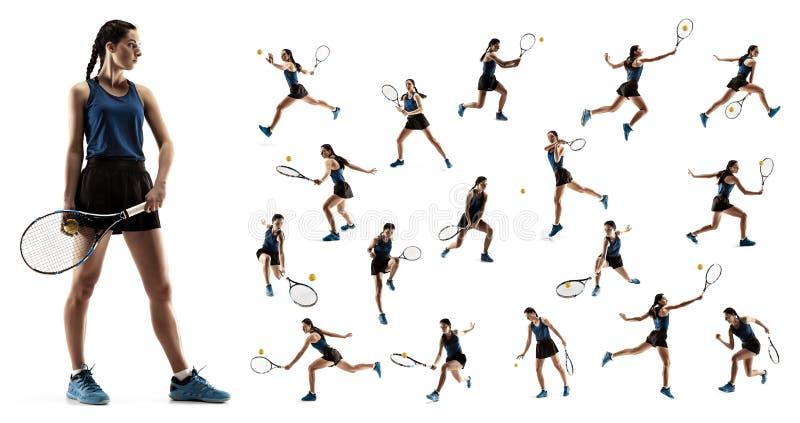 A colagem sobre a jovem mulher que joga o tênis isolada no fundo branco imagens de stock