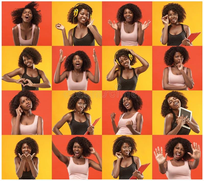 Colagem sobre a mulher afro bonita surpreendida e feliz fotografia de stock royalty free