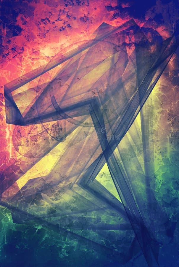 Colagem textured sumário dos meios mistos do Grunge, arte ilustração stock