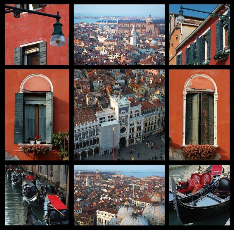 Colagem velha de Veneza - fotos do curso imagem de stock