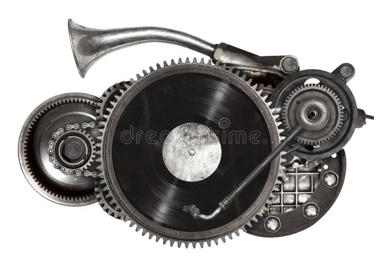 Colagem velha do metal de Steampunk da plataforma giratória do registro de vinil imagens de stock
