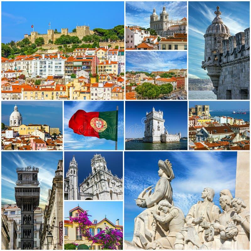 Colagem velha dos marcos da cidade de Lisboa, Portugal imagens de stock royalty free