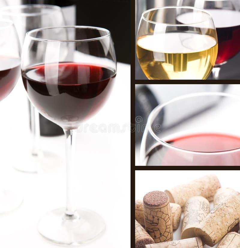 Colagem - vidros do vinho imagem de stock