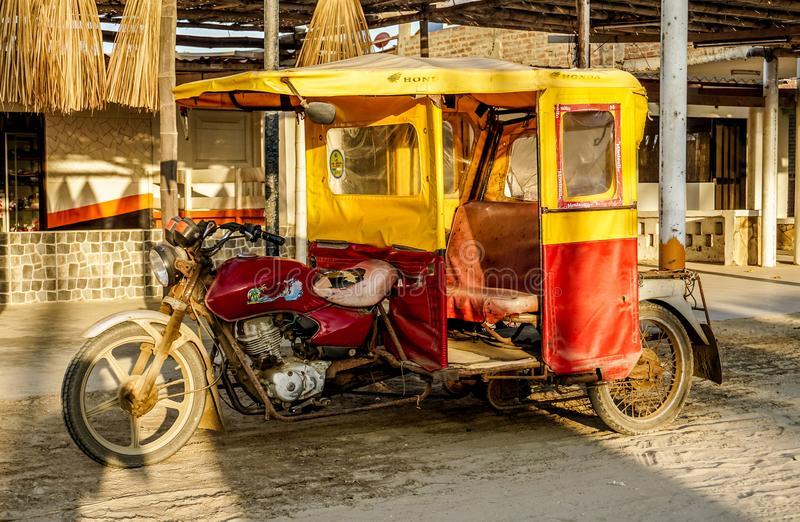 Colan, Peru. Our typical taxi in the Piura area royalty free stock photography