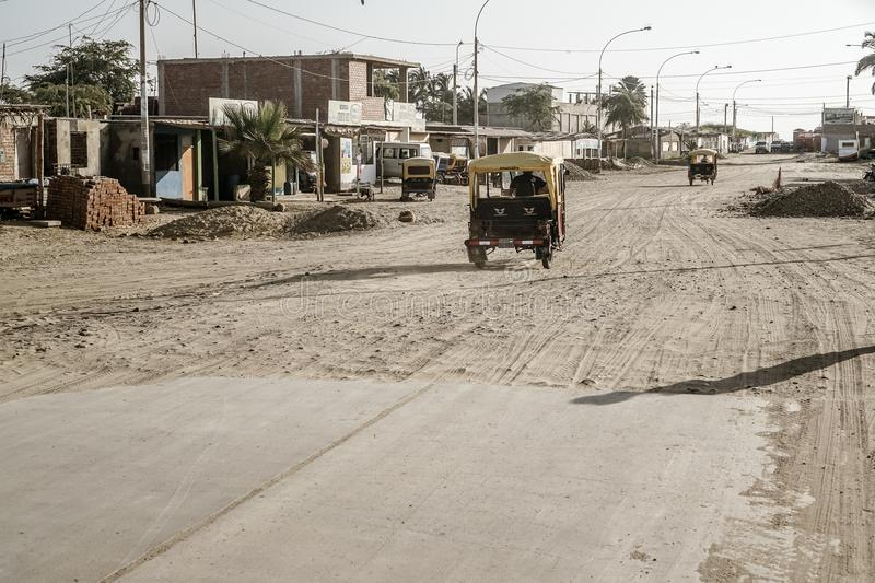 Colan, Peru. There was one road to the city of Colan that literally stopped and turned into sand stock image