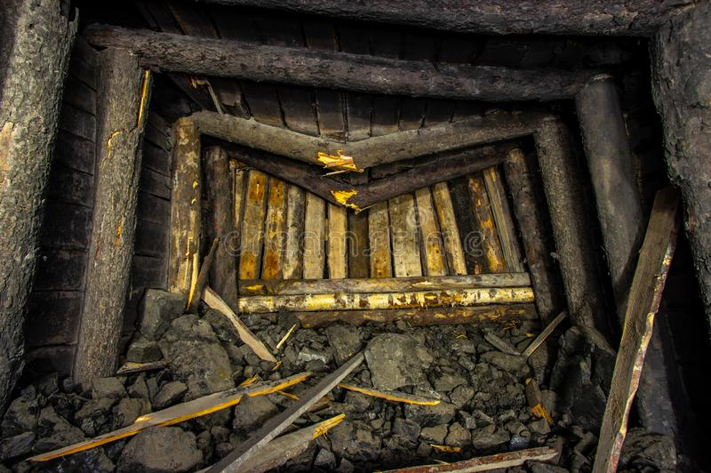 Colapso da mina de sal imagem de stock