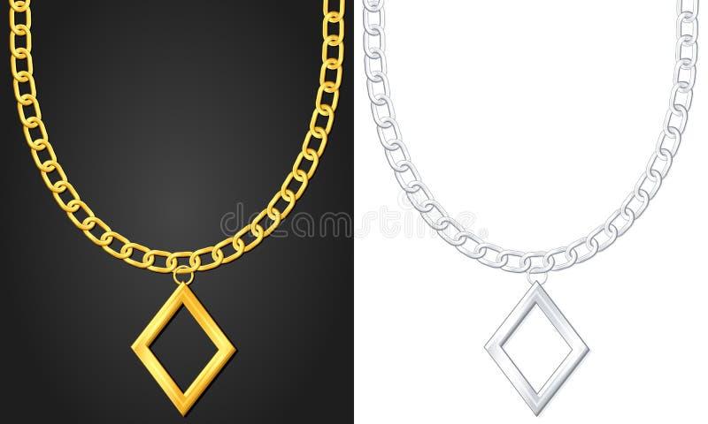 Colar com símbolo do diamante ilustração stock