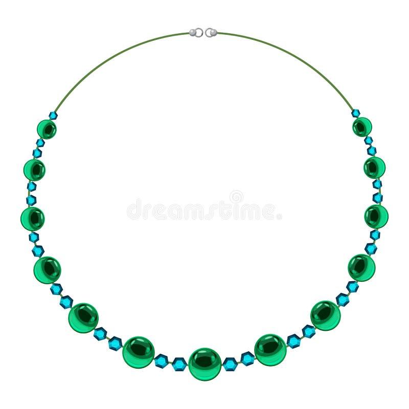 A colar com verde perla o ícone, estilo dos desenhos animados ilustração do vetor