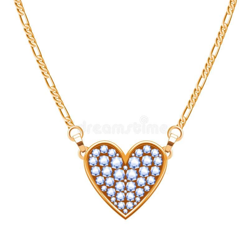 Colar da corrente dourada com o pendente de pedras preciosas dos diamantes Forma do coração ilustração stock