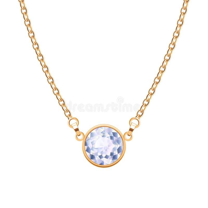 Colar da corrente dourada com o pendente redondo do diamante ilustração stock
