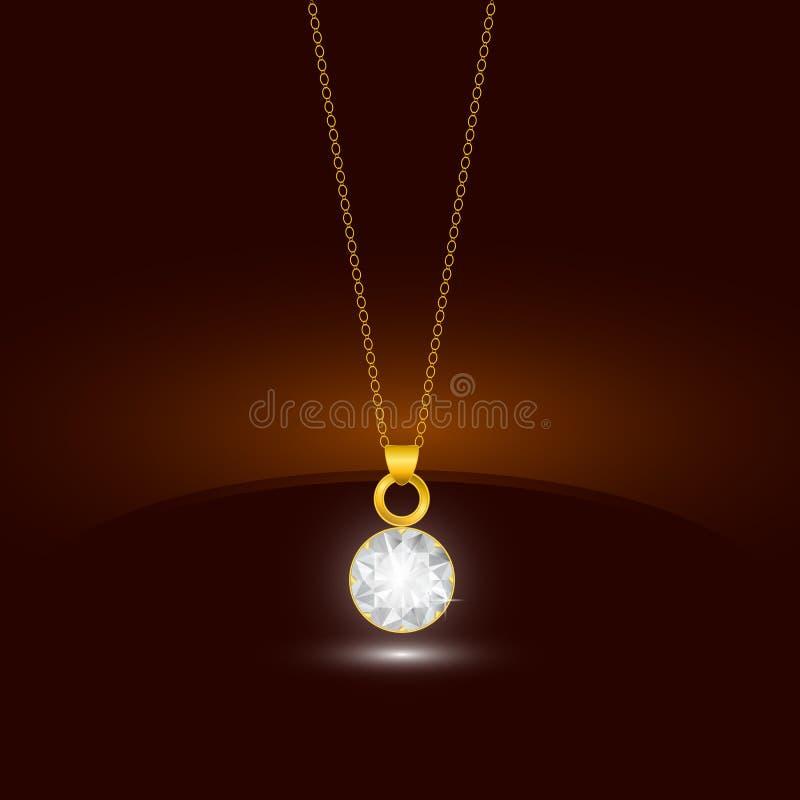 Colar da corrente dourada com o pendente redondo do diamante Projeto da joia ilustração do vetor