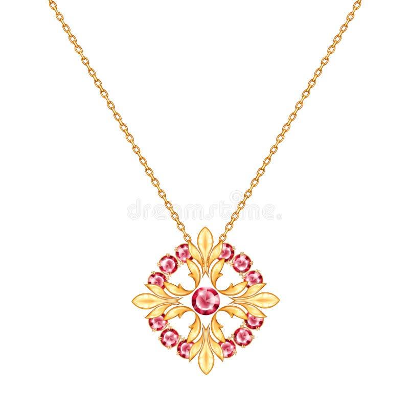 Colar da corrente dourada com pendente redondo Projeto da joia ilustração royalty free