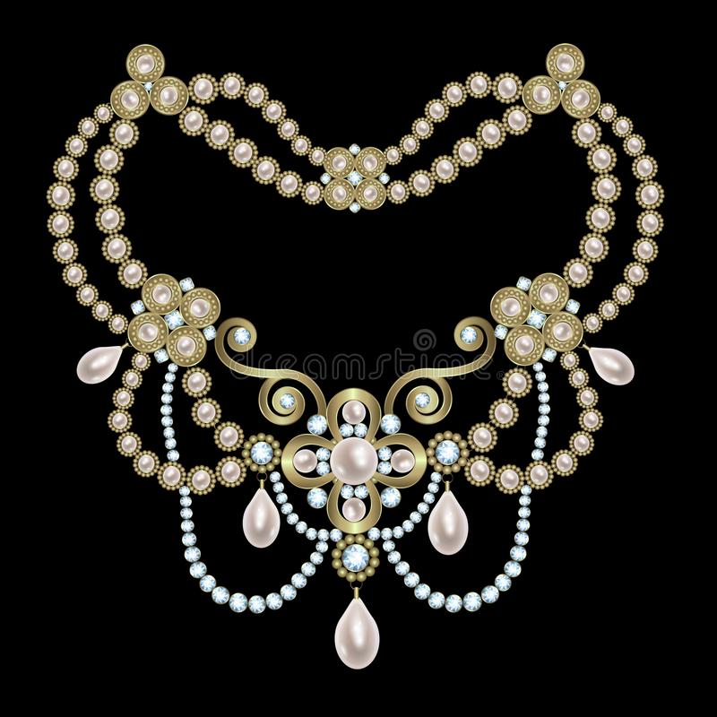 Colar da pérola com diamantes ilustração royalty free