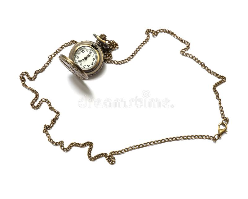 Colar de bronze do relógio do close up isolada no fundo branco fotos de stock royalty free