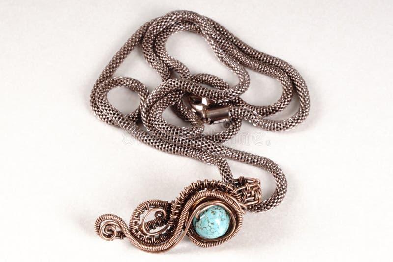 Colar de cobre da joia do vintage fotografia de stock