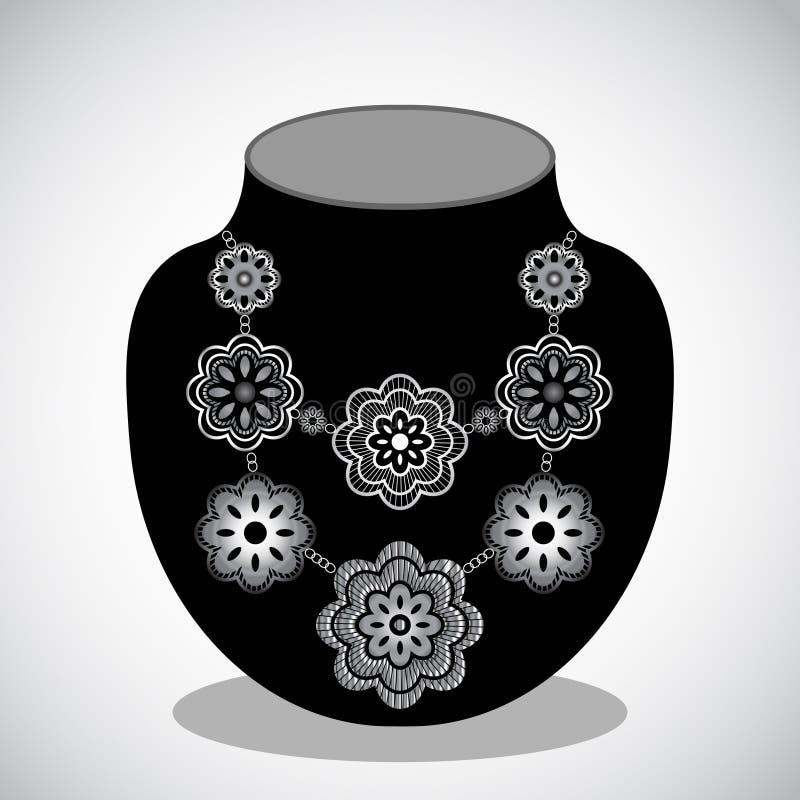 Colar de prata da flor ilustração stock