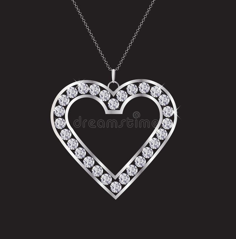 Colar do coração do diamante ilustração stock