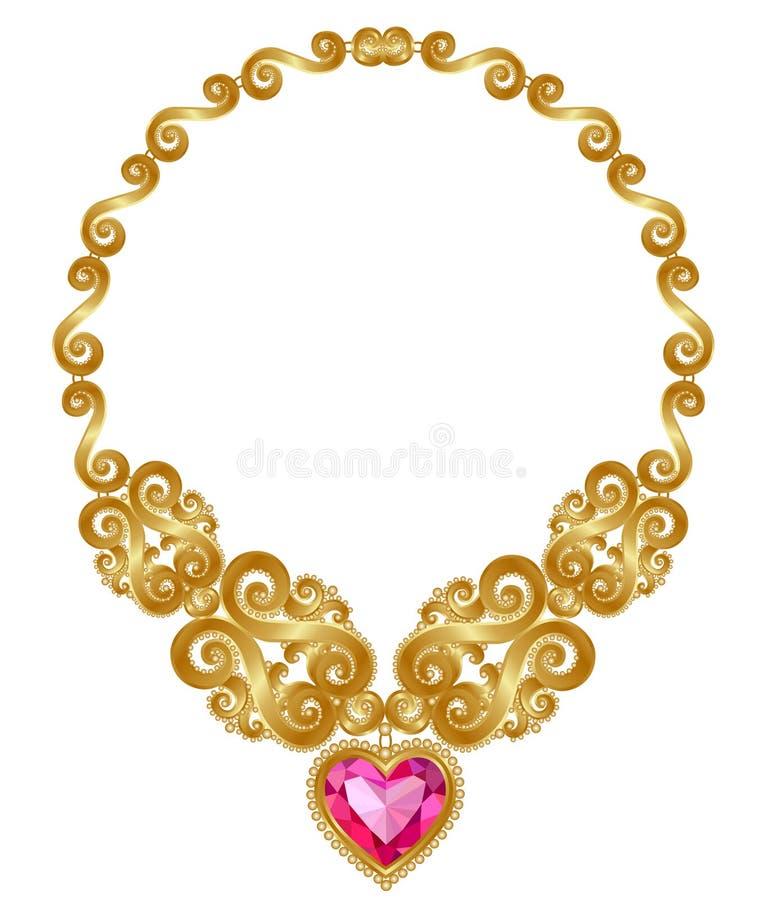 Colar do ouro ilustração royalty free