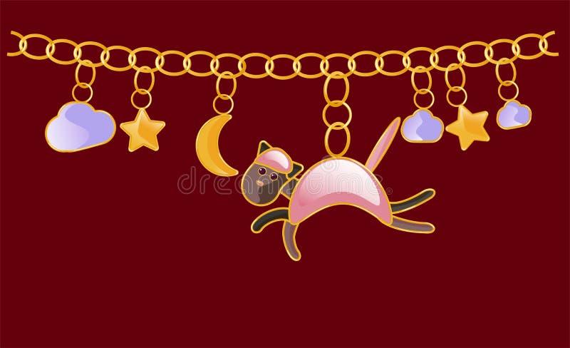 Colar do ouro bracelet Corrente com anéis amarelos Para criar cópias na roupa das crianças s, matérias têxteis, telas, a ilustração royalty free