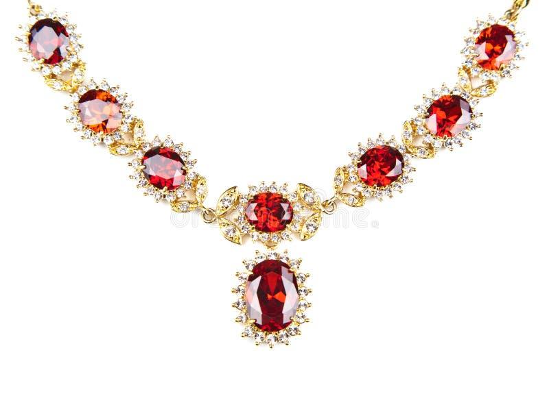 A colar do ouro com gemas isolou-se fotografia de stock