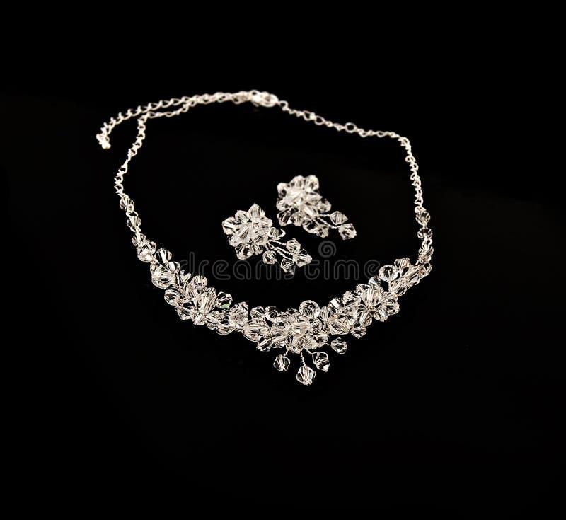 Colar e brincos de diamante fotos de stock royalty free