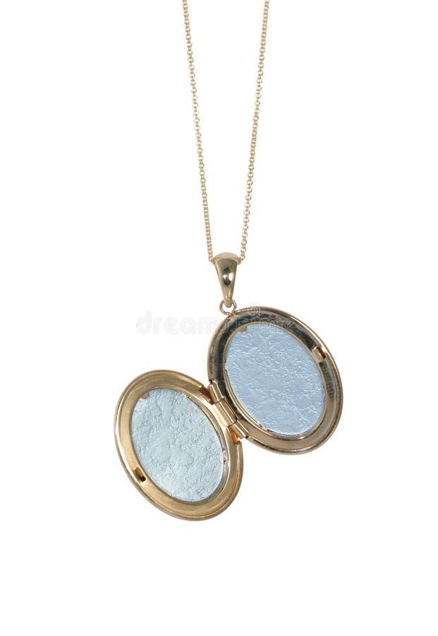 Colar vazia do medalhão do vintage do ouro em uma corrente imagens de stock