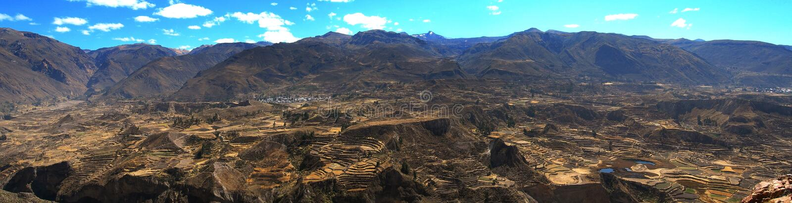 Colca Valley Landscape Panorama Terraces Peru stock photography