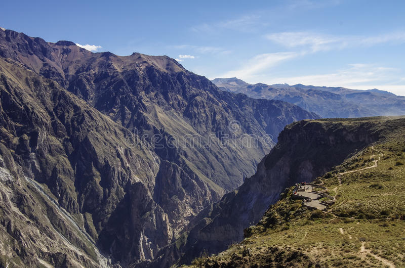 Colcacanion dichtbij Cruz Del Condor-gezichtspunt Arequipagebied, Pe royalty-vrije stock afbeeldingen