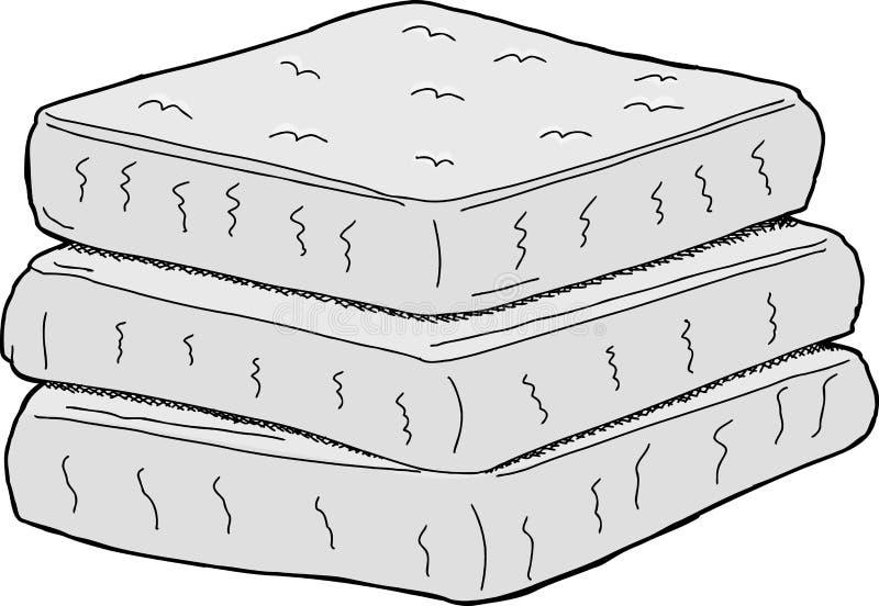 Colchões isolados ilustração do vetor