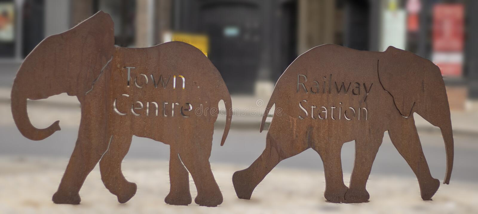 Colchester Elephants showing the way stock photos