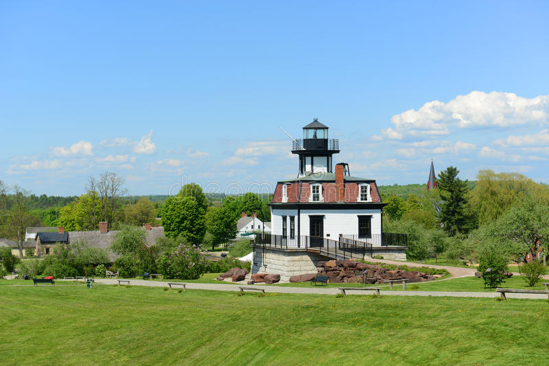 Colchester Reef Lighthouse, Vermont, USA. Colchester Reef Light was a antique lighthouse at Colchester Point in Lake Champlain. Now it was moved to Shelburne stock photo