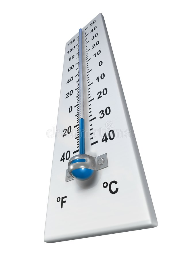 Cold. Rendered thermometer in cold environment