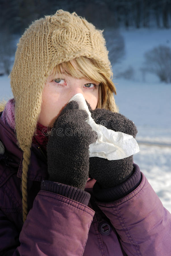 Download Cold stock photo. Image of caucasian, smiles, smile, handkerchief - 17350600
