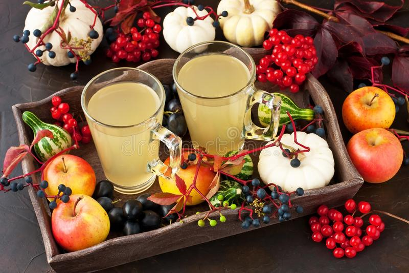Traditional autumn spicy cocktail with apples stock images