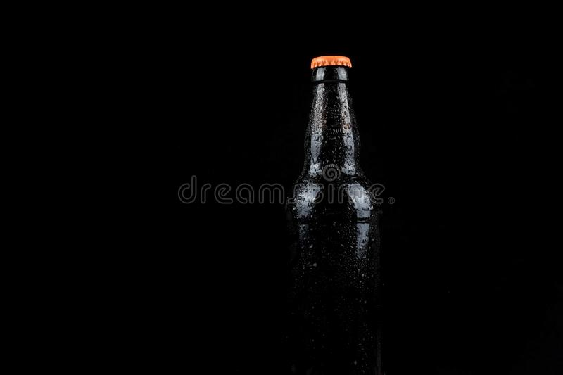 Cold beer bottle royalty free stock images